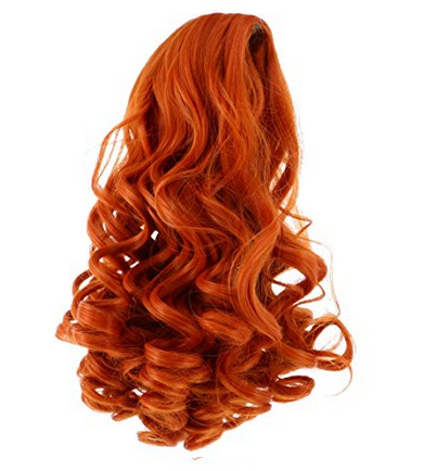 medium  long curl wig for vinyl girl doll,long curl wig for doll