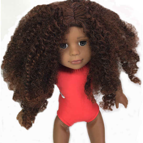 long curly  hair  for african girl doll wig
