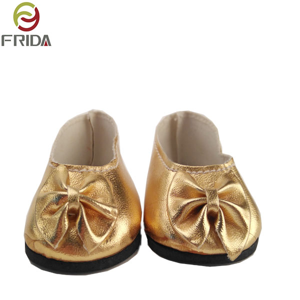 mini gold dance shoes for 18 inch  girl doll accessories