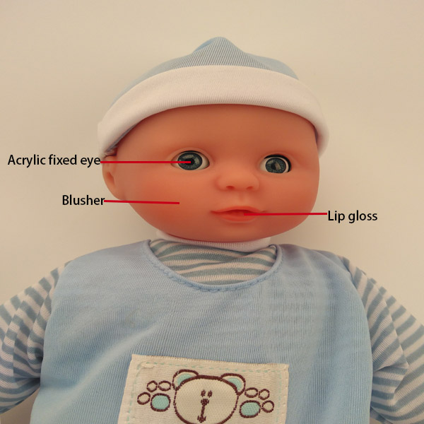 little reborn baby doll in blue clothes for 18 inch vinyl doll